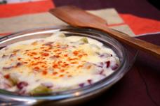 Jamón con salsa de leche